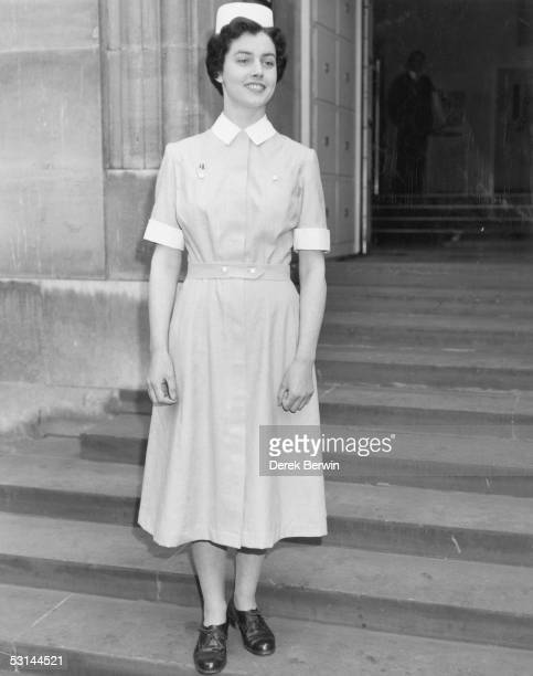 Sister Sheila Spark modelling the new nurses' uniform for the British National Health Service 13th May 1959 In a cottonviscose/rayon mix the uniform...