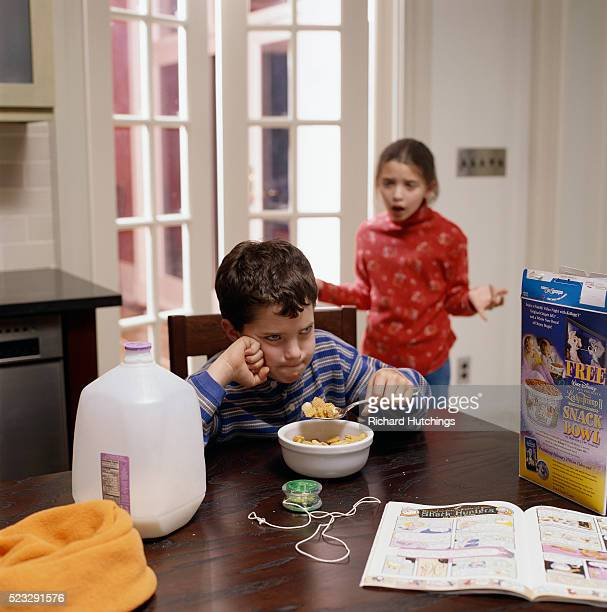 Sister Shouting at Brother During Breakfast