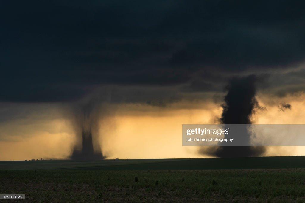 Sister Tornadoes, Colorado. USA : Stock Photo