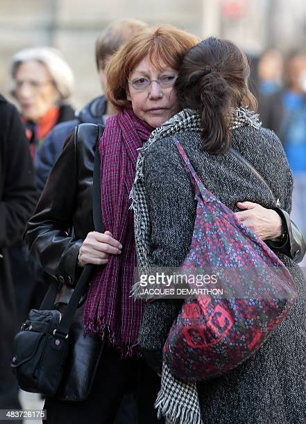 Sisterinlaw Anne Wiazemsky arrives to attend the funeral of French author Regine Desforges on April 10 2014 in Paris Regine Desforges an author...