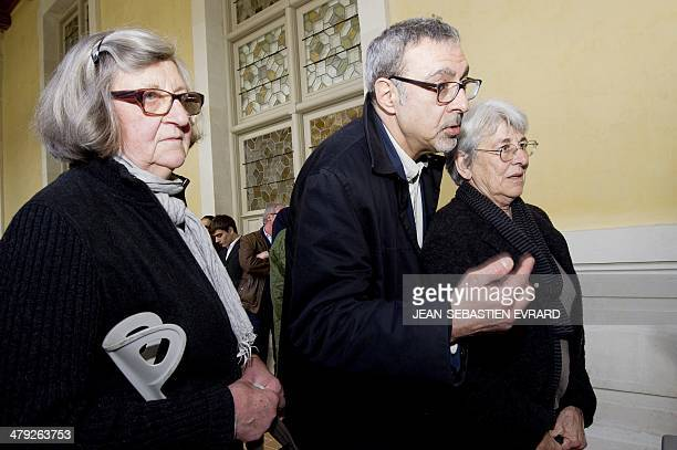 sisters and brother of Agnes Leroux Catherine Cazeneuve JeanCharles Le Roux and Patricia Blot arrive to attend a hearing of Maurice Agnelet's third...
