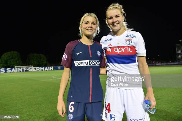 Sisters Andrine Hegerberg of PSG and Ada Hegerberg of Lyon following the French Women's Division 1 match between Paris Saint Germain and Lyon on May...