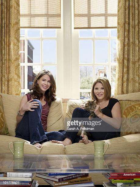 Sisters Barbara Pierce Bush and Jenna Bush Hager pose for a portrait session at Jenna's Baltimore home in 2010