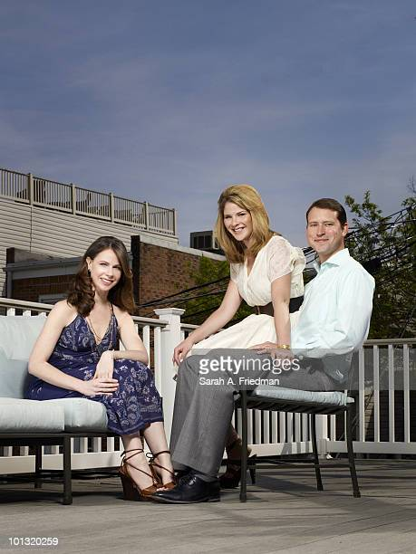 Sisters Barbara Pierce Bush Jenna Bush Hager and Jenna's husband Henry Hager pose for a portrait session at Jenna and Henry's Baltimore home in 2010...
