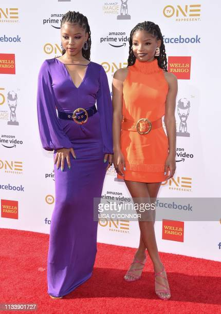 Sisters Chloe Bailey and Halle Bailey RB duo Chloe X Halle arrive for the 50th NAACP Image awards at the Dolby theatre on March 30 2019 in Los Angeles