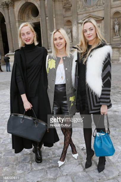 Sisters Claire CourtinClarins Virginie CourtinClarins and Elizabeth von Thurn und Taxis arrive to attend the Louis Vuitton Fall/Winter 2013...