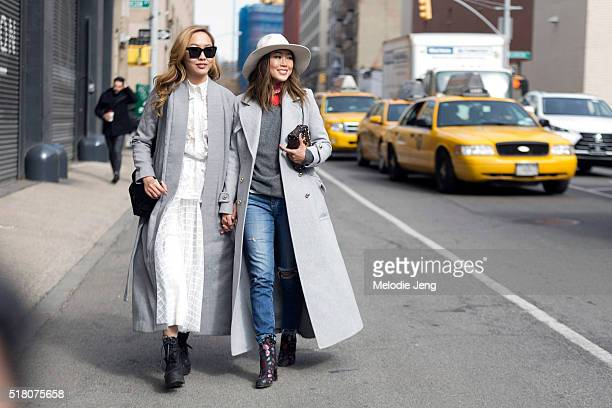 Sisters Dani Song and Aimee Song at Skylight Clarkson Sq during New York Fashion Week: Women's Fall/Winter 2016 on February 12, 2016 in New York...