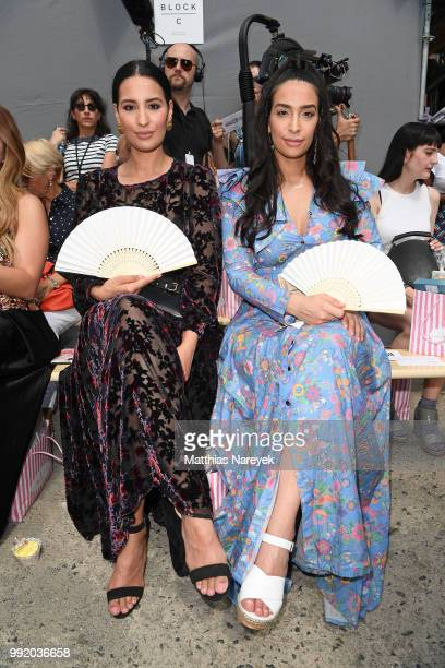 Sisters Dounia Slimani and Lamiya Slimani attends the Marina Hoermanseder show during the Berlin Fashion Week Spring/Summer 2019 at ewerk on July 5...