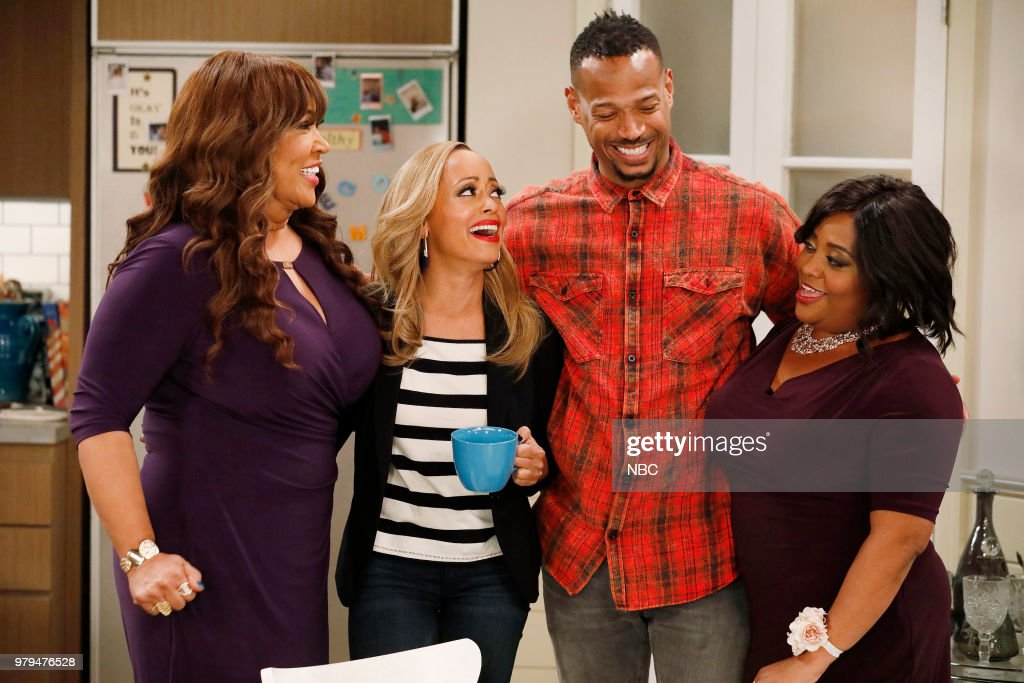 MARLON -- 'Sisters' Episode 202 -- Pictured: (l-r) Kym Whitley as Lovie, Essence Atkins as Ashley Wayne, Marlon Wayans as Marlon Wayne, Sherri Shepherd as Lenora --