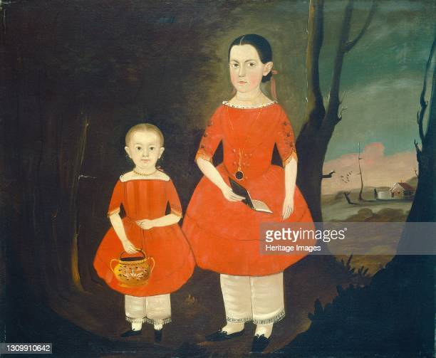 Sisters in Red, circa 1840/1850. Artist Sturtevant J. Hamblin. .