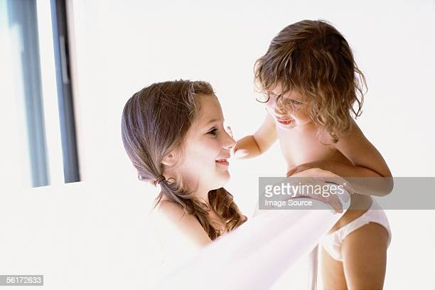 sisters in the bathroom - little girls undies stock pictures, royalty-free photos & images