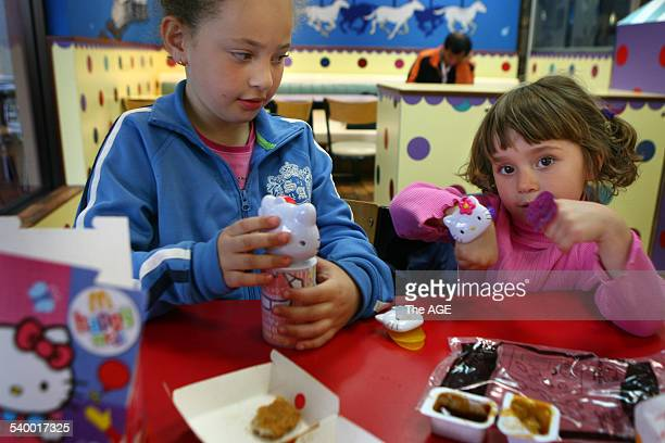 Sisters Jade 6 and Juele Pagan from Queensland were enjoying a happy meal at McDonalds today on 8th May 2006 THE AGE NEWS Picture by PENNY STEPHENS