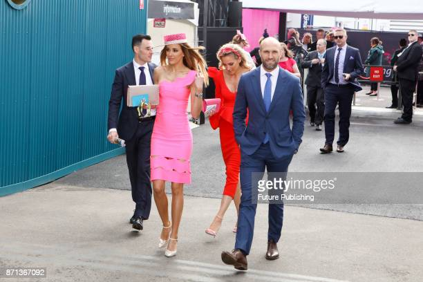 Sisters Kate Twigley Rebecca Judd Chris Judd and Mathew Seal arrive at the Melbourne Cup Carnival on November 7 2017 in Melbourne Australia Chris...