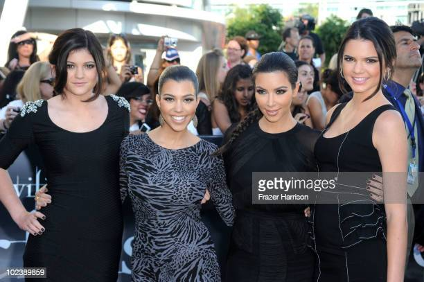 Sisters Kylie Jenner Kourtney Kardashian Kim Kardashian and Kendall Jenner arrive at the premiere of Summit Entertainment's 'The Twilight Saga...