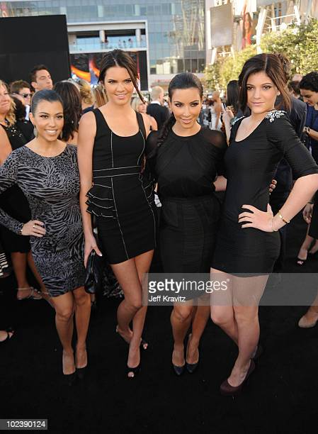 Sisters Kylie Jenner Kourtney Kardashian Kim Kardashian and Kendall Jenner arrive at the premiere of Summit Entertainment's The Twilight Saga Eclipse...