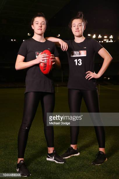 Sisters Libby Haines and Chloe Haines pose during the AFLW Draft Combine at Etihad Stadium on October 2 2018 in Melbourne Australia
