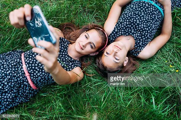 Sisters making a selfie