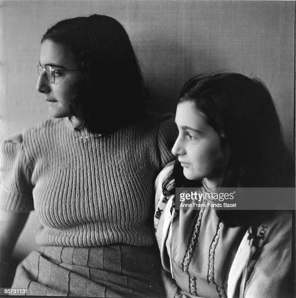 Sisters Margot and Anne Frank who lived in concealed rooms during the Nazi occupation of Amsterdam circa 1941