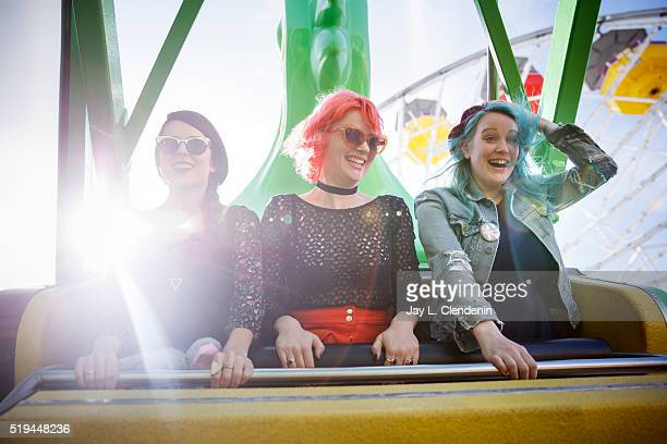 Sisters Micayla Grace Jessica Grace and Jennifer Clavin of the Los Angeles band 'Bleached' are photographed for Los Angeles Times on February 26 2016...