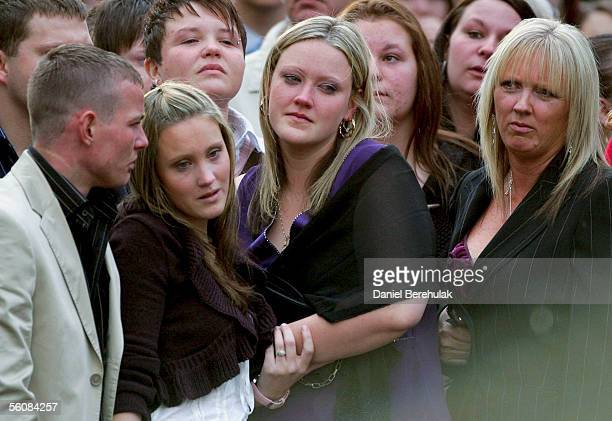 Sisters Michelle and Danielle with Linda Chiddy mother of murdered model Sally Anne Bowman seen at the end of service at as doves are released in...