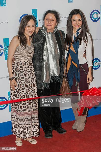 Sisters Miri and Martha Higareda pose alongside Mexican actress Angelica Aragon during the opening of the Cast Crew Film School on February 25 2016...