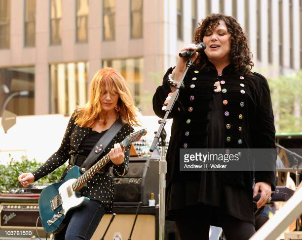 Sisters Nancy Wilson and Ann Wilson of the band Heart perform at 'FOX Friends' to promote their new album 'Red Velvet Car' at the FOX studios on...