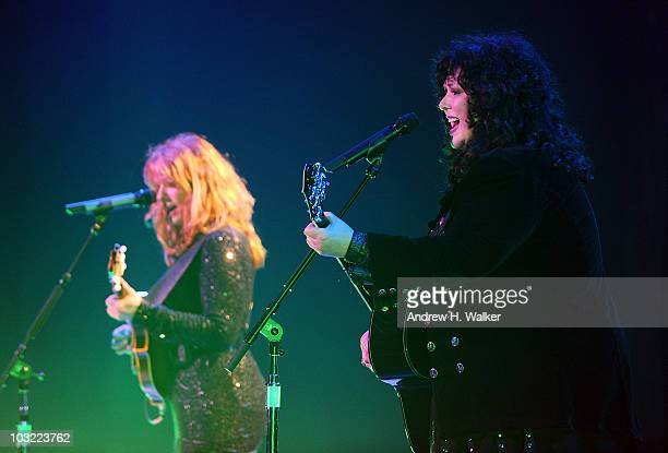 Sisters Nancy Wilson and Ann Wilson of the band Heart perform at the Hammerstein Ballroom on August 3, 2010 in New York City.