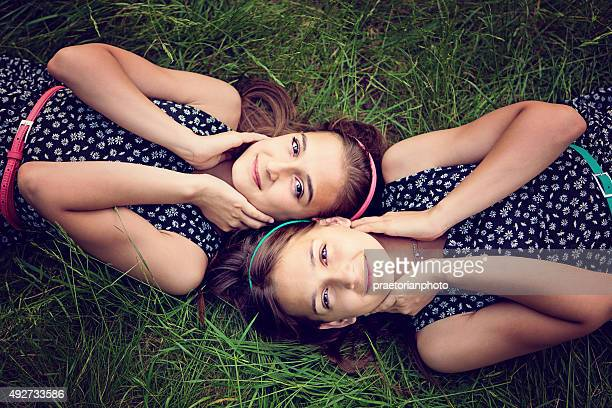 sisters - petite teen girl stock photos and pictures