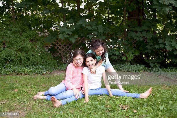 Sisters play outside