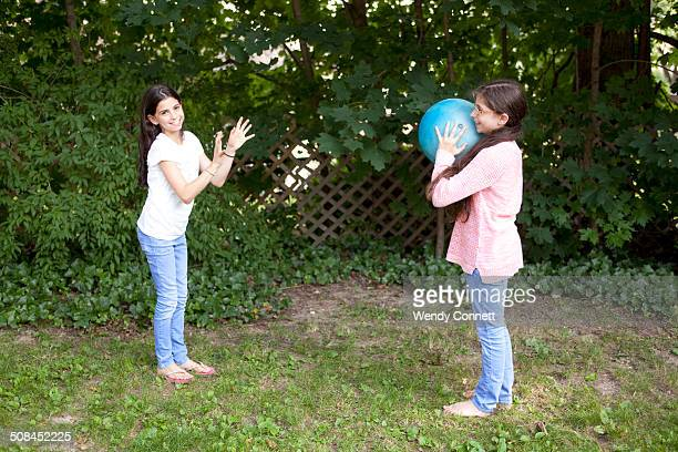Sisters playing outside