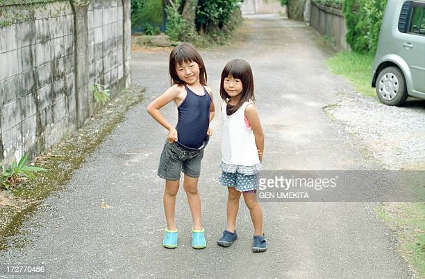 sisters portrait - only japanese stock pictures, royalty-free photos & images