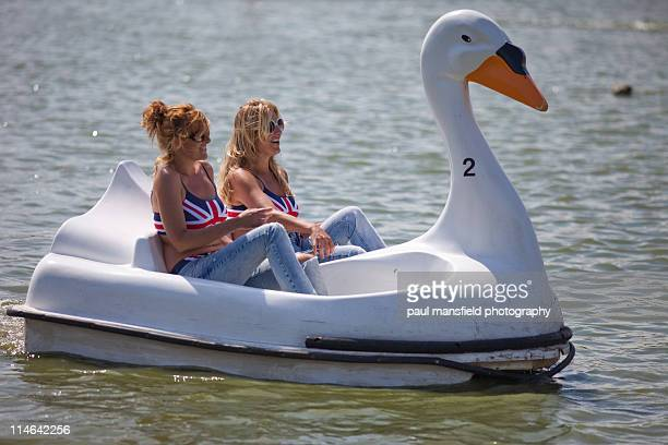 Sisters share swan shaped pedalo