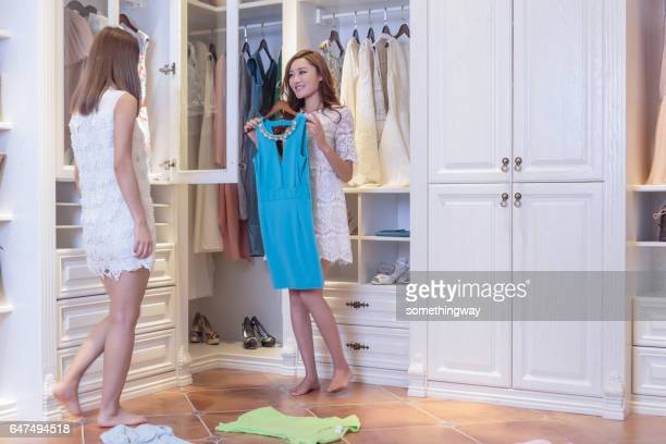 Sisters show clothes