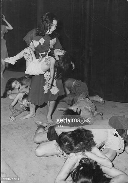 Sisters Sumiko and Mineko Furuzuki survivors of the atomic bombings following World War Two performing a play called 'No more Hiroshima' with...