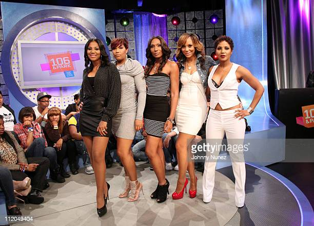 "Sisters Trina Braxton, Traci Braxton, Towanda Braxton, Tamar Braxton, and Toni Braxton visit BET's ""106 & Park"" at 106 & Park Studio on April 11,..."