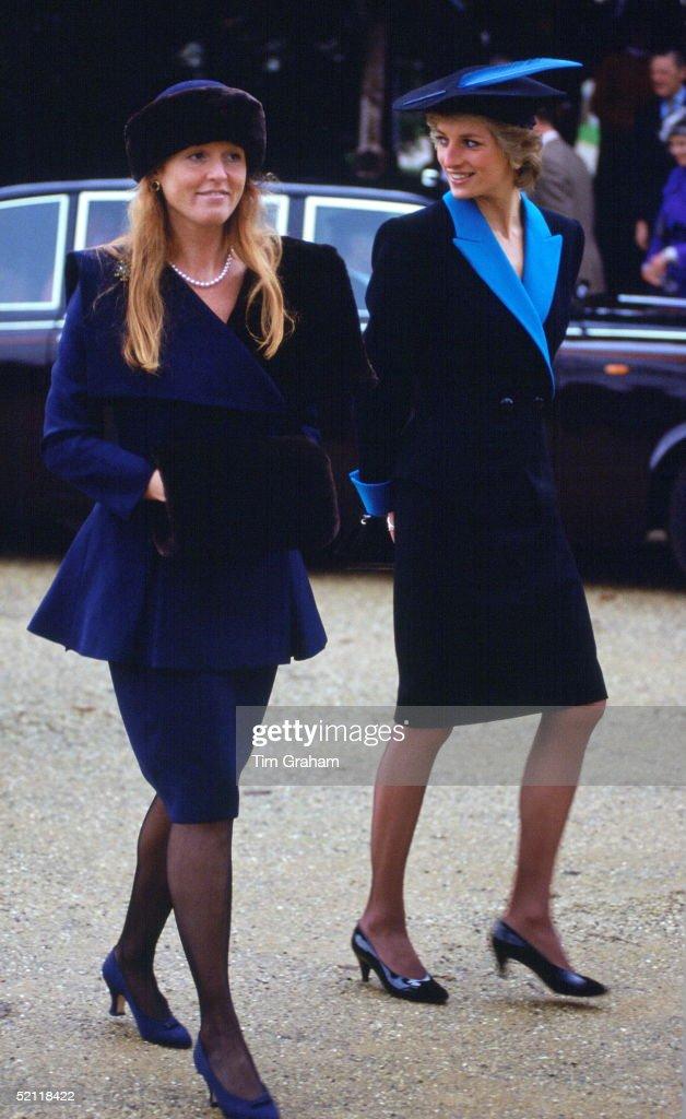 Princess Diana And Duchess Of York At Sandringham : News Photo
