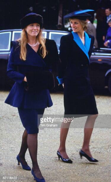 Sistersinlaw Princess Diana And Sarah Duchess Of York At Sandringham For The Royal Christmas