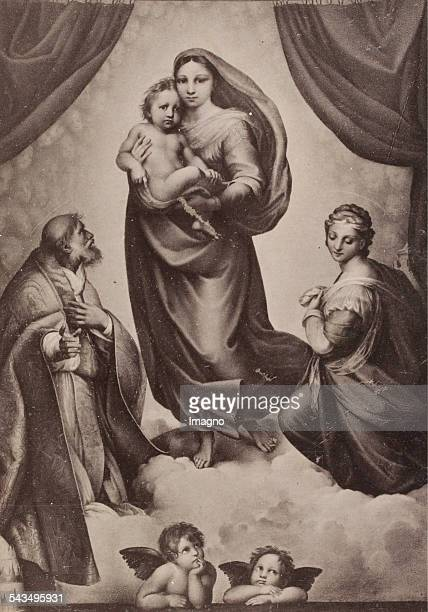 Sistine Madonna by Raphael. Dresden Gallery. About 1890. Reproduction photograph based on a painting.