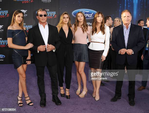 R Sistine Rose Stallone actor Sylvester Stallone Sophia Rose Stallone Scarlet Rose Stallone Jennifer Flavin and Frank Stallone attend the premiere of...