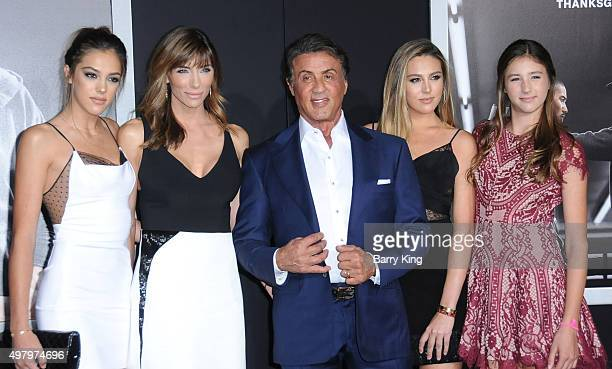 Sistine Rose Stallone Jennifer Flavin actor/producer Sylvester Stallone Sophia Rose Stallone and Scarlet Rose Stallone attend the Premiere Of Warner...