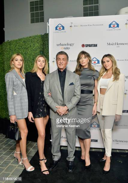 Sistine Stallone, Scarlet Rose Stallone, Sylvester Stallone, Jennifer Flavin and Sophia Rose Stallone attend A Sense Of Home's First Ever Annual Gala...