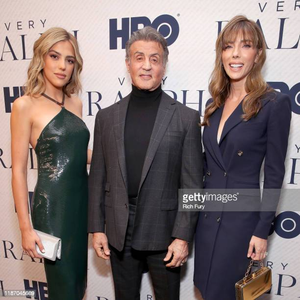 """Sistine Stallone, Sylvester Stallone, and Jennifer Flavin attend the Premiere of HBO Documentary Film """"Very Ralph"""" at The Paley Center for Media on..."""
