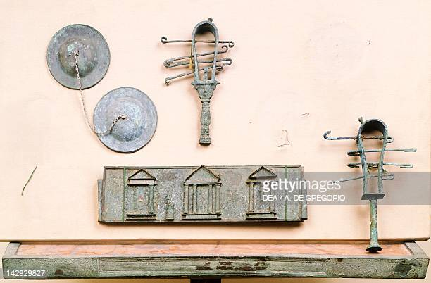 Sistrums cymbals and organ from Pompeii Campania Roman Civilization Naples Museo Archeologico Nazionale