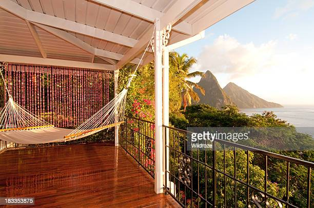 Sit in a hammock and enjoy the ocean view of Twin Piton