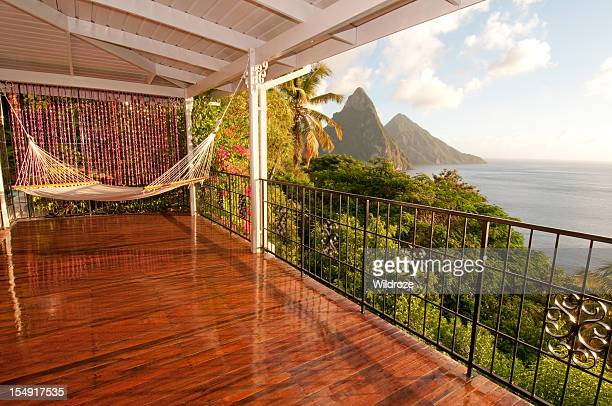 Sit in hammock and enjoy Twin Piton view
