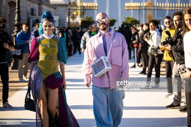 Sita Abellan and J Balvin attend the Louis Vuitton Menswear Fall/Winter 2020-2021 show as part of Paris Fashion Week on January 16, 2020 in Paris,...