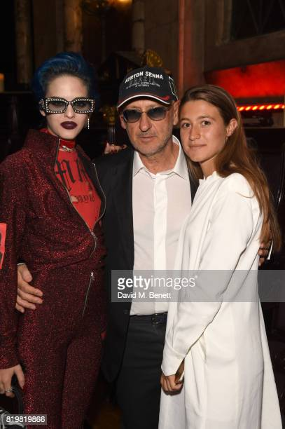 Sita Abellan, Andrea Panconesi and Anna Greta Panconesi attend a dinner to celebrate the launch of the Luisaviaroma LVR Edition 3 project by Dilara...