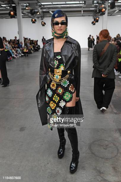 Sita Abellan attends the Fashion East show during London Fashion Week Men's June 2019 at the BFC Show Space on June 09 2019 in London England