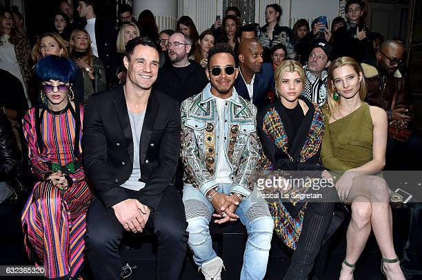 Sita Abellan Dan Carter Formula One driver Lewis Hamilton Sofia Richie and Ilona Smet attend the Balmain Menswear Fall/Winter 20172018 show as part...