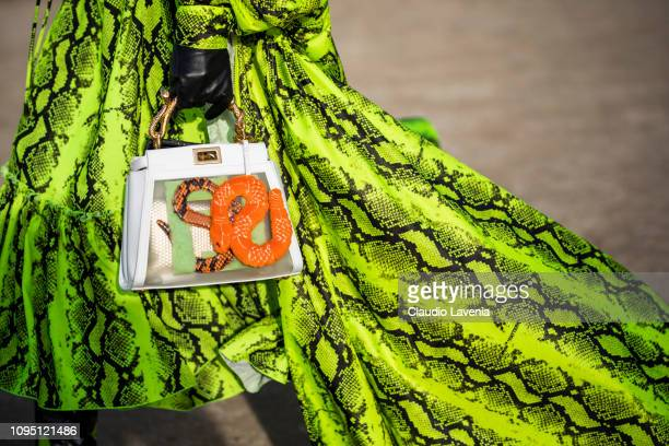 Sita Abellan, Fendi bag details, is seen in the streets of Paris before the Off-White show on January 16, 2019 in Paris, France.